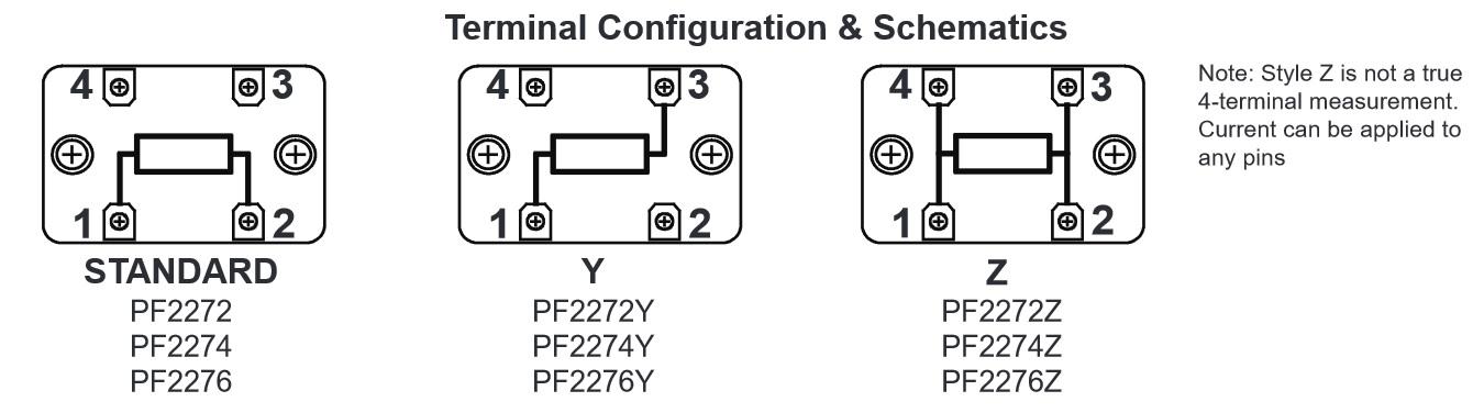Riedon PF2274 Terminal configuration options