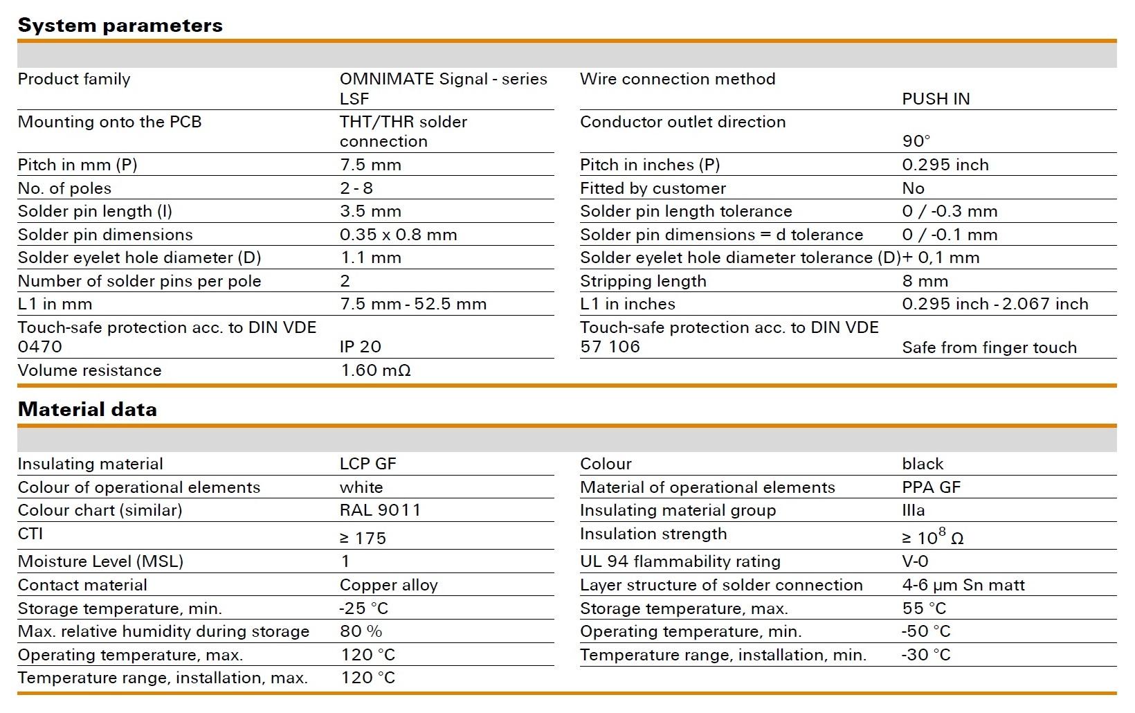 Weidmüller LSF-SMT 7.50/90 Specifications