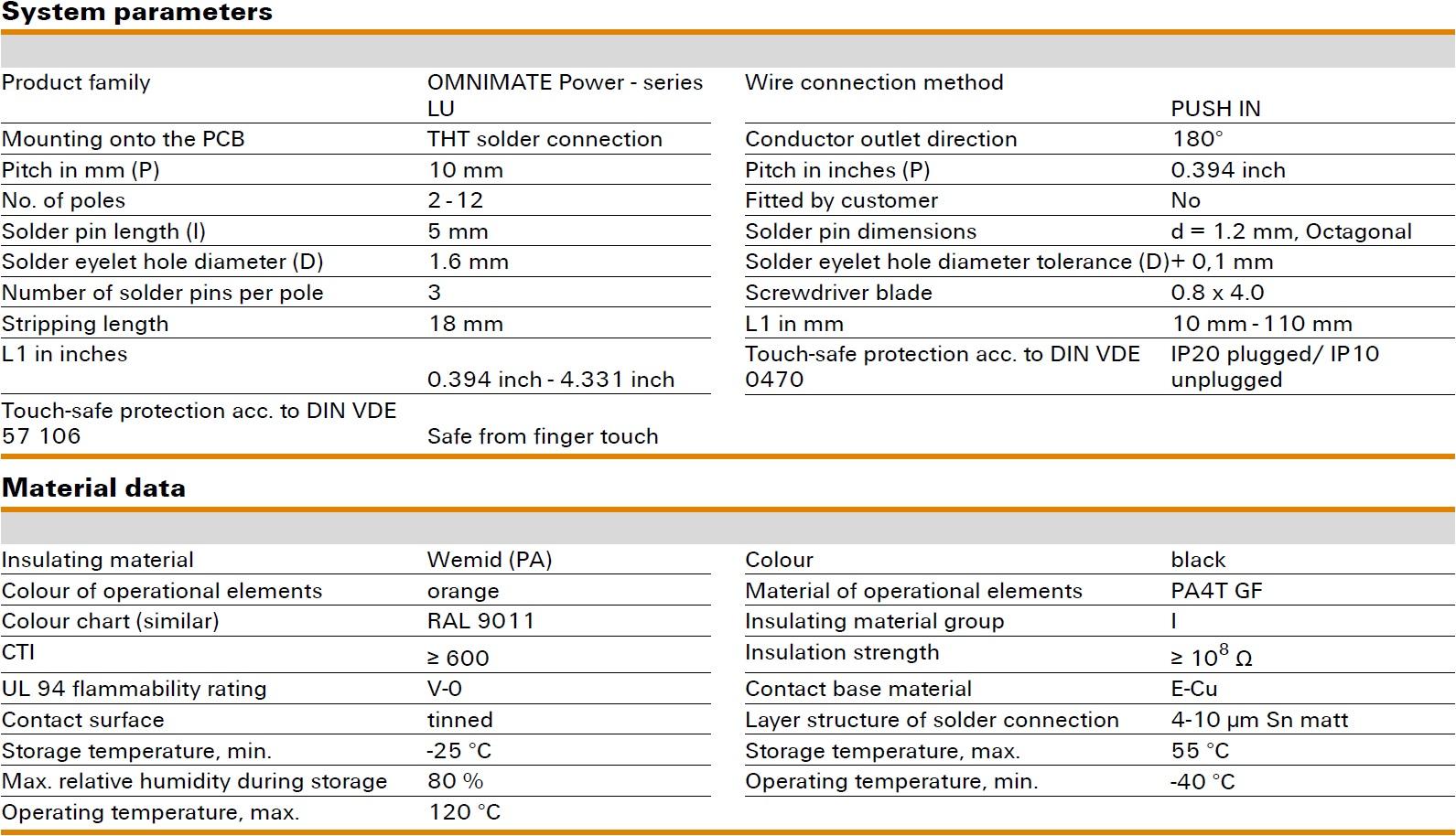 Weidmüller LUFS 10.00/180V Specifications